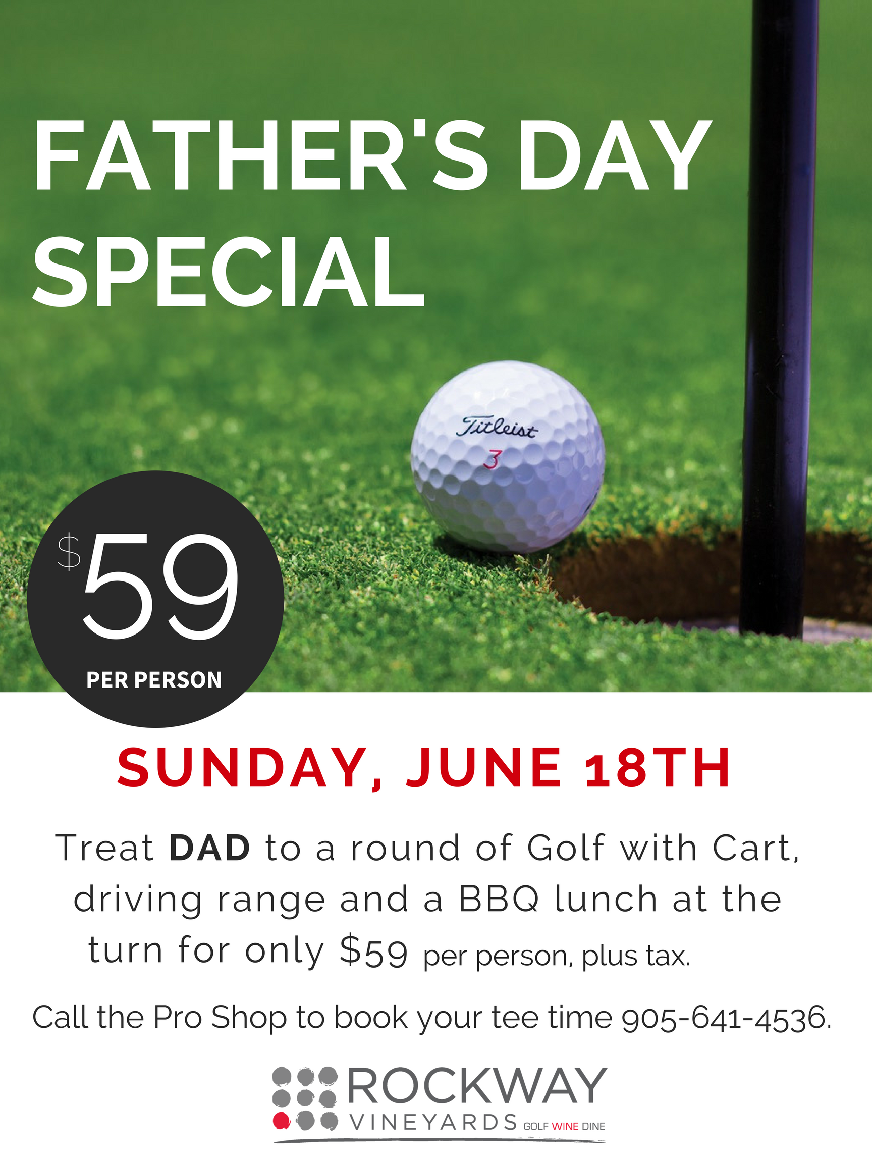 rockway vineyards, niagara golf, father's day, golf special